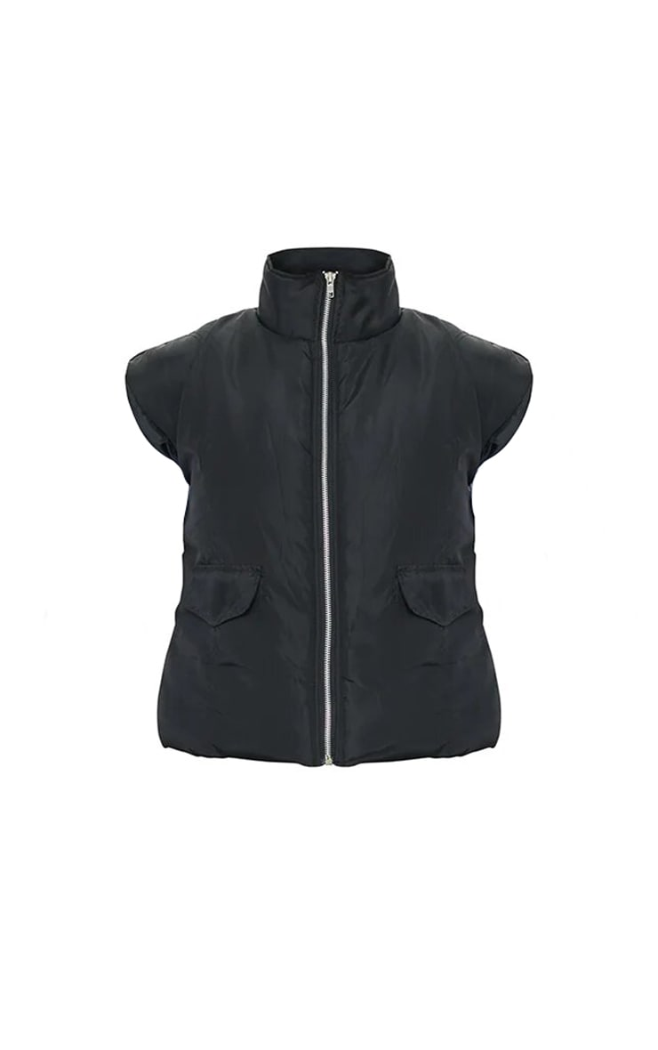 Black Shell Zip Up Square Shoulder Bomber Gilet 5