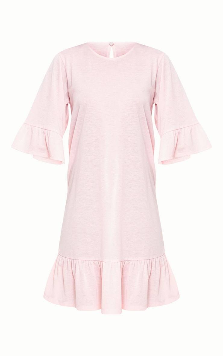 Pink Jersey Frill Hem Shift Dress 3