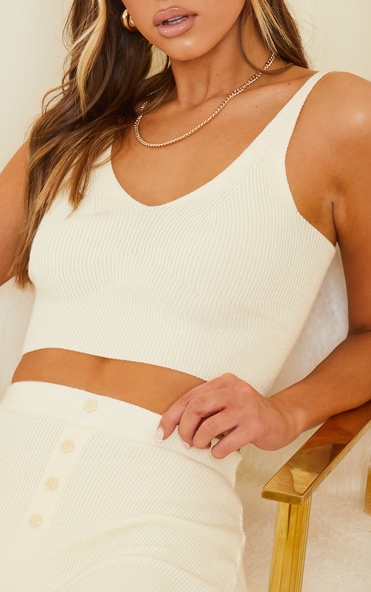 Cream Ribbed Knitted Bralet 4