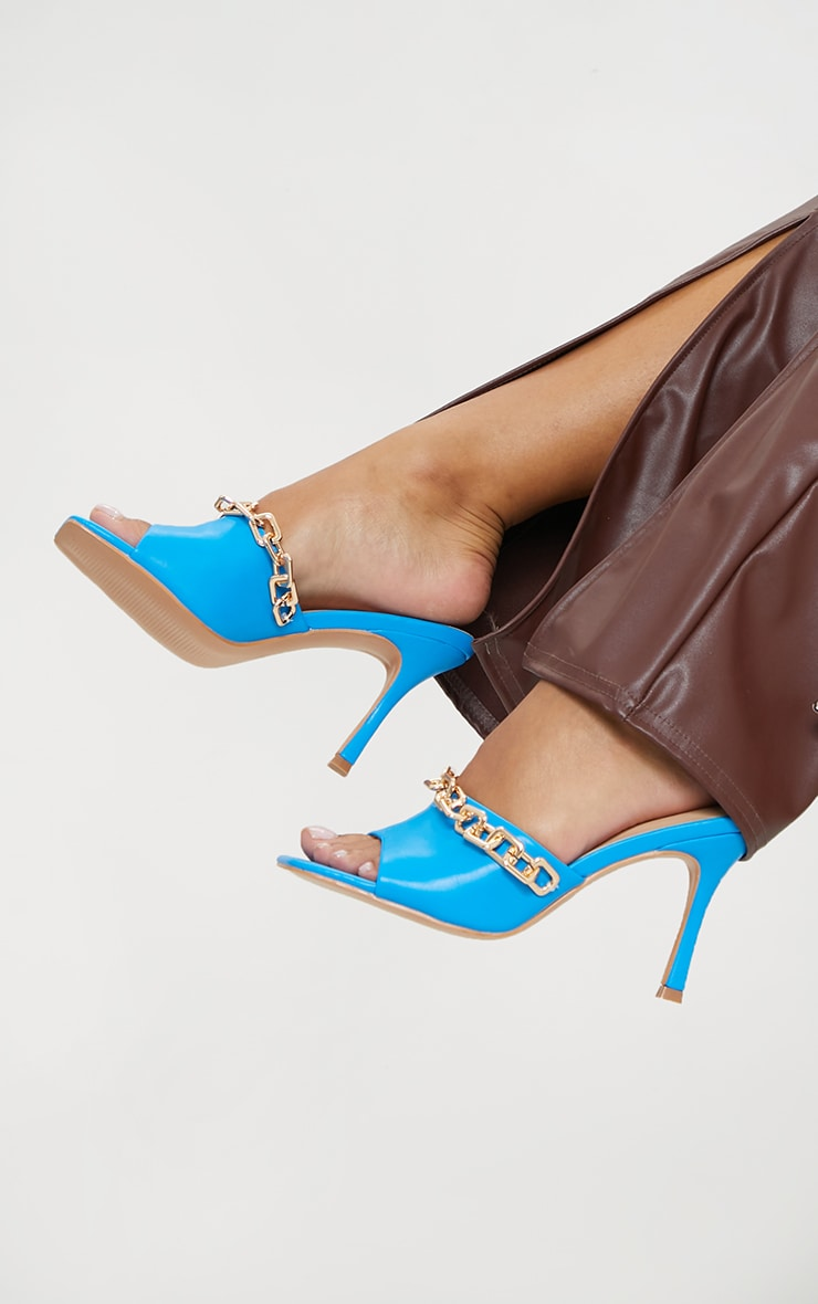 Blue PU Chain Detail Mid Heeled Mules 1
