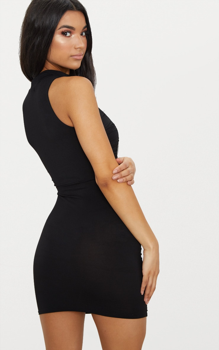 Black High Neck Ruched Detail Bodycon Dress 2