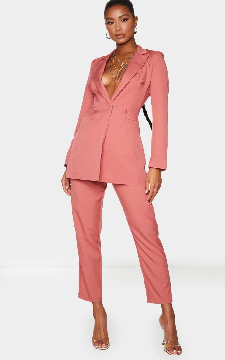 Deep Rose Double Breasted Woven Blazer 3