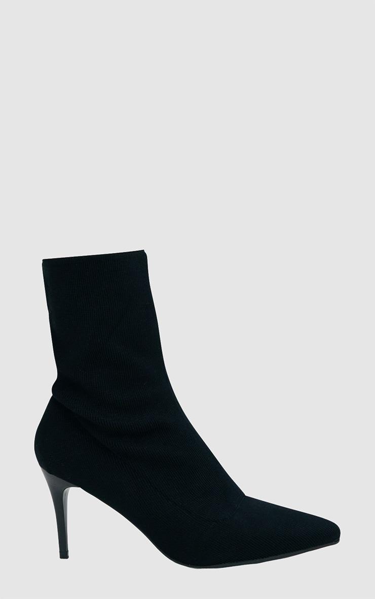 Black Mid Heel Ankle Sock Boot 3