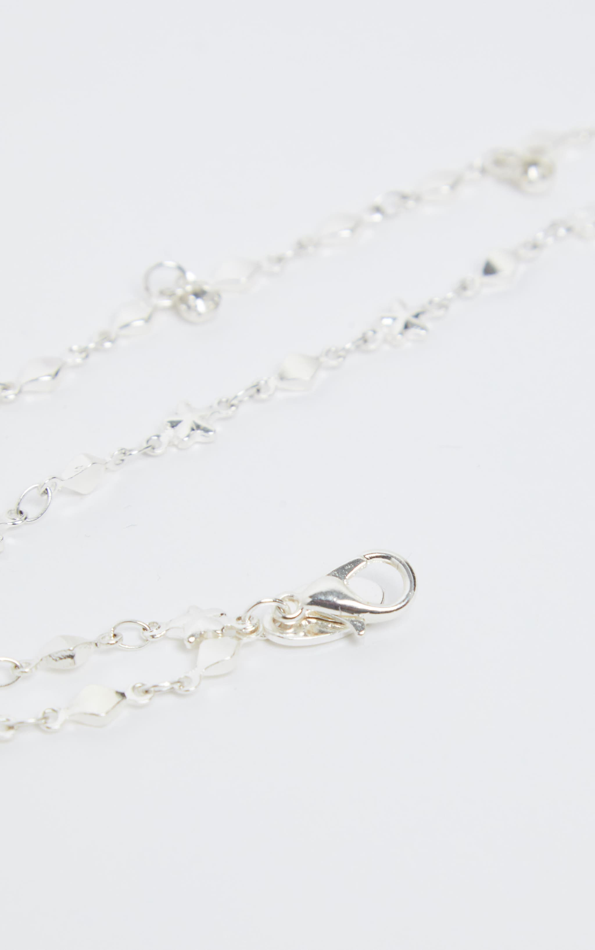 Silver Double Layer Stars And Diamante Chain Anklet 3