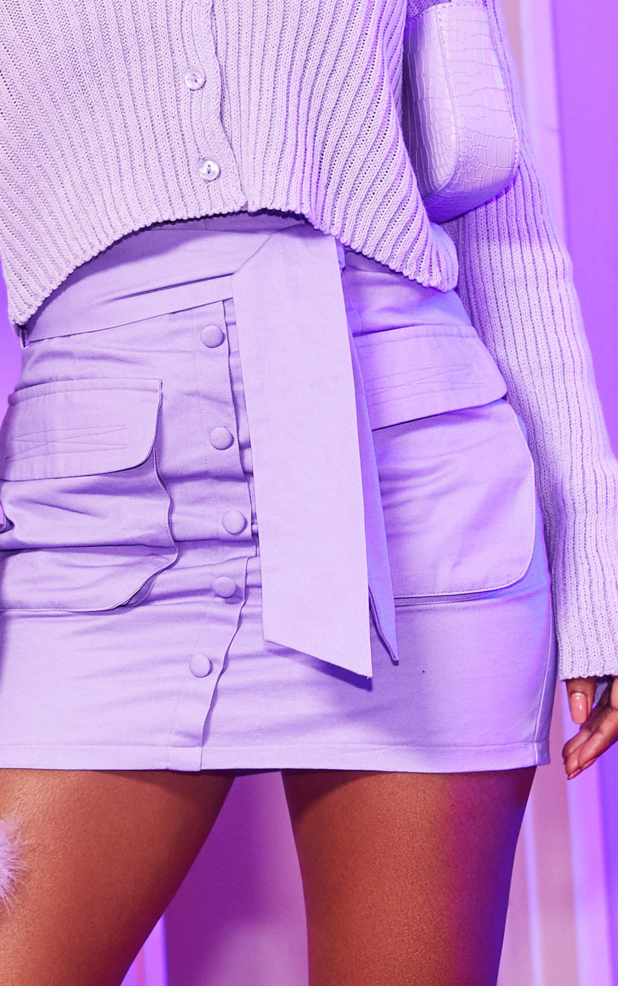 Lilac Utility Tie Waist Mini Skirt 5