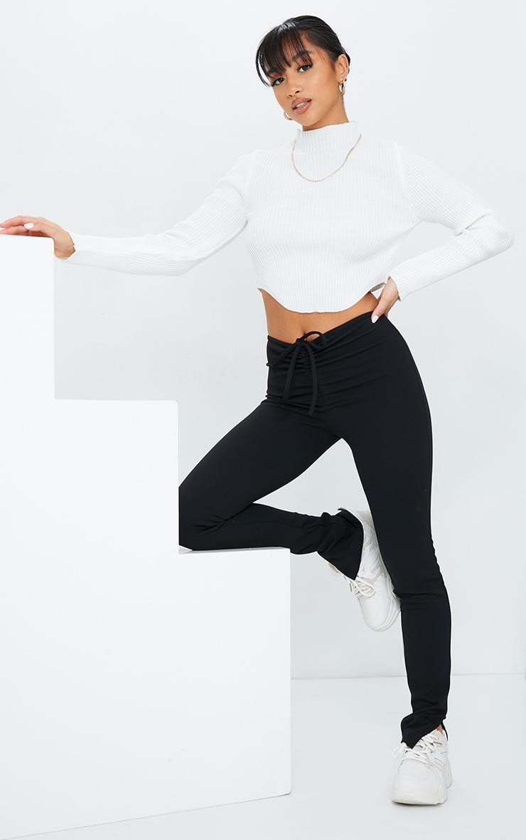 Petite Black Crepe Ruched Waist Line Split Hem Pants 1