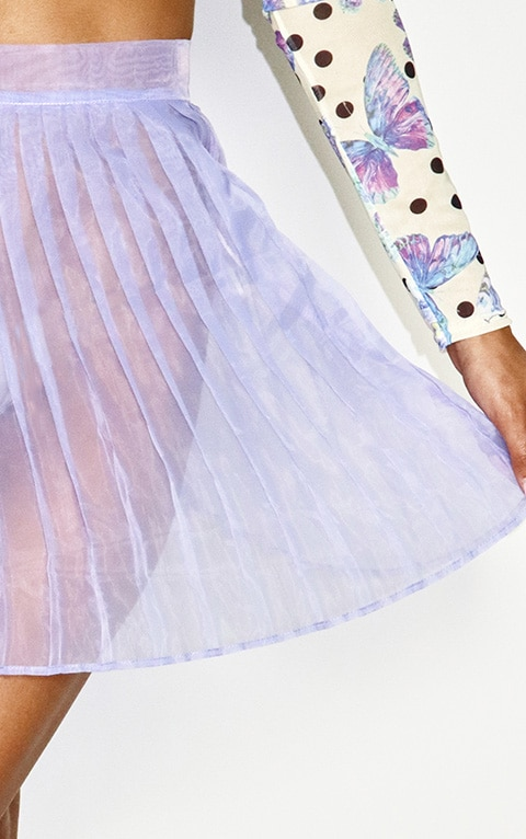 Lilac Organza Pleated Skater Skirt 5