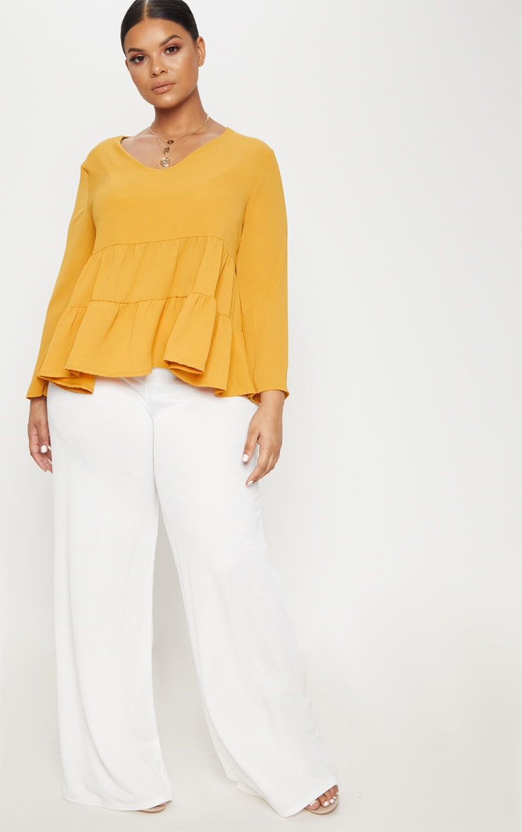 Plus Mustard Plunge Tiered Shirt 4