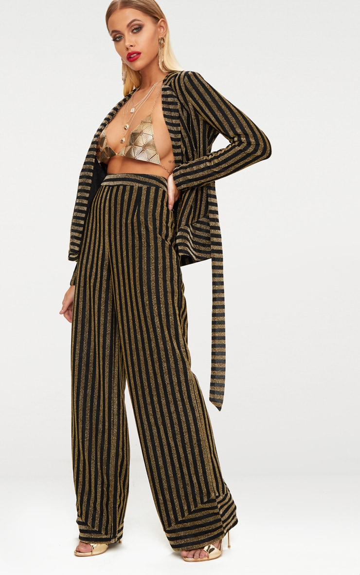 Black Metallic Stripe Wide Leg Trouser 1