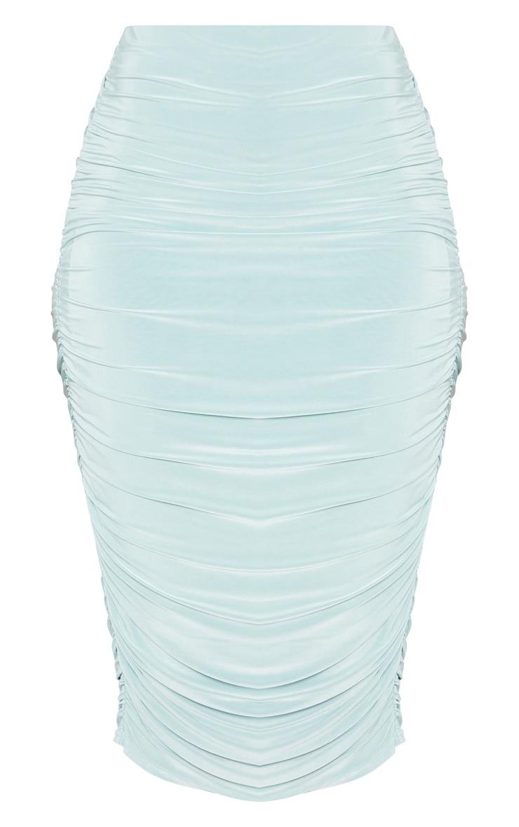 Mint Slinky Second Skin Ruched Midi Skirt 3