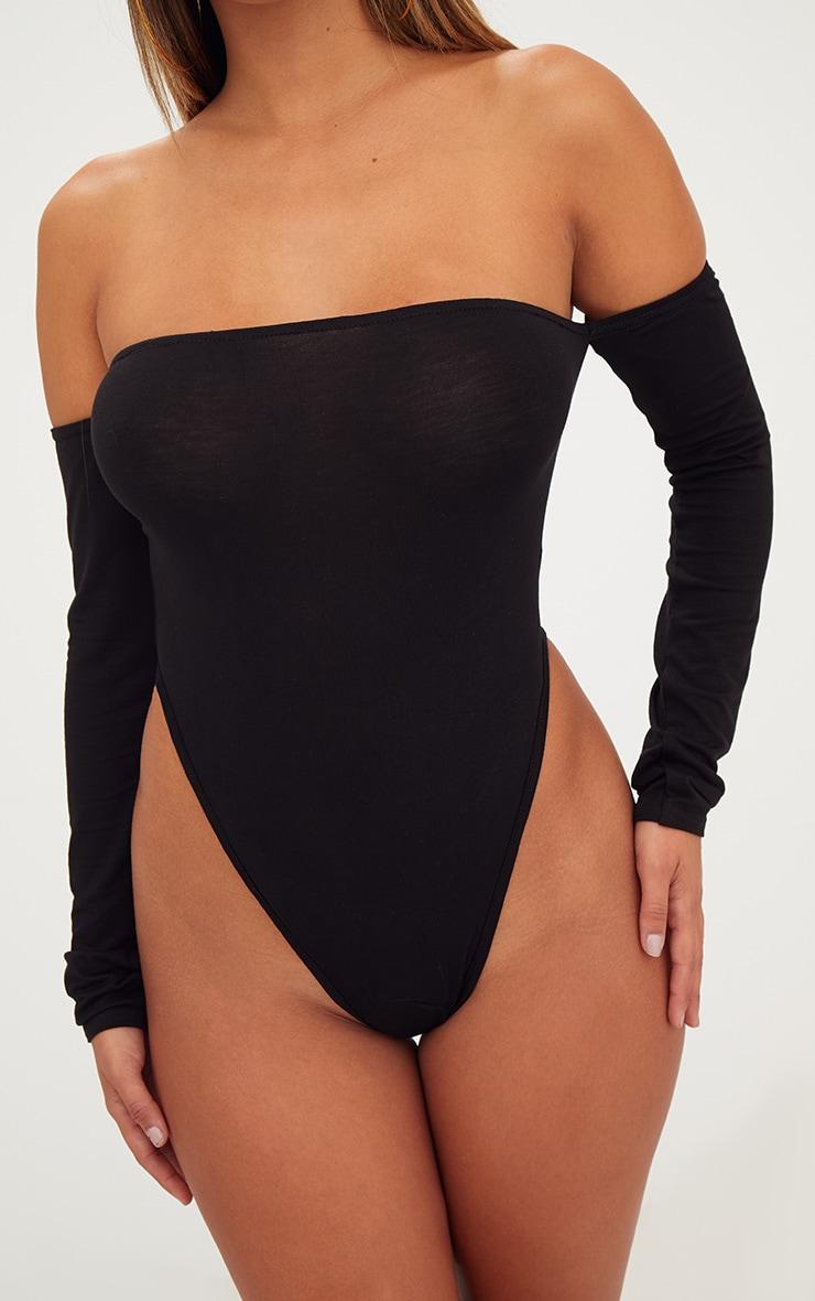 Black Bardot High Leg Longsleeve Thong Bodysuit 5