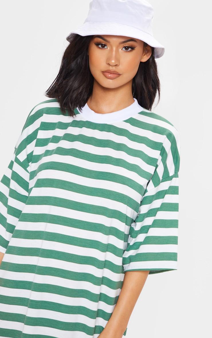 Forest Green Striped Oversized Boyfriend T Shirt Dress 5