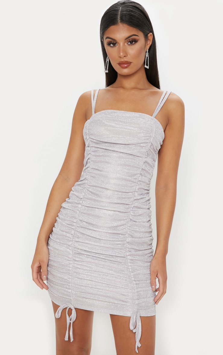 Lilac Glitter Metallic Ruched Bodycon Dress 1
