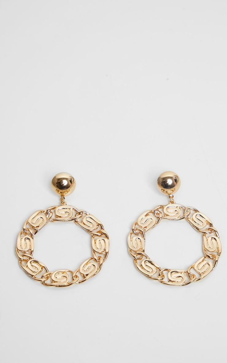 Gold Aztec Ring Drop Earrings 4
