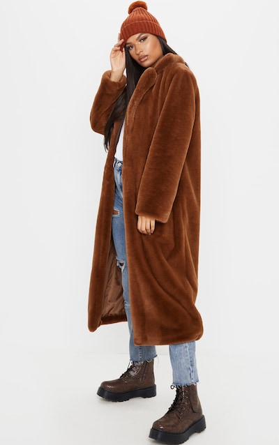 Dark Brown Maxi Faux Fur Coat