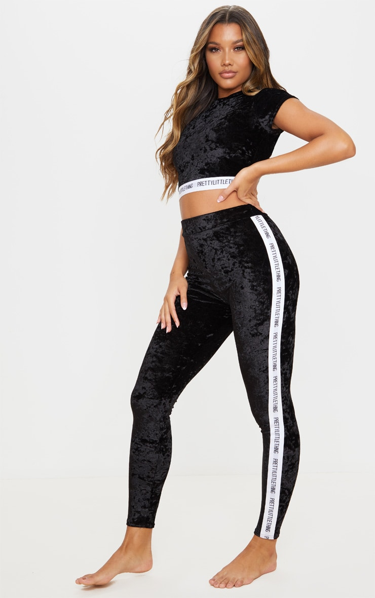 PRETTYLITTLETHING Black Velvet Legging Pj Set 4