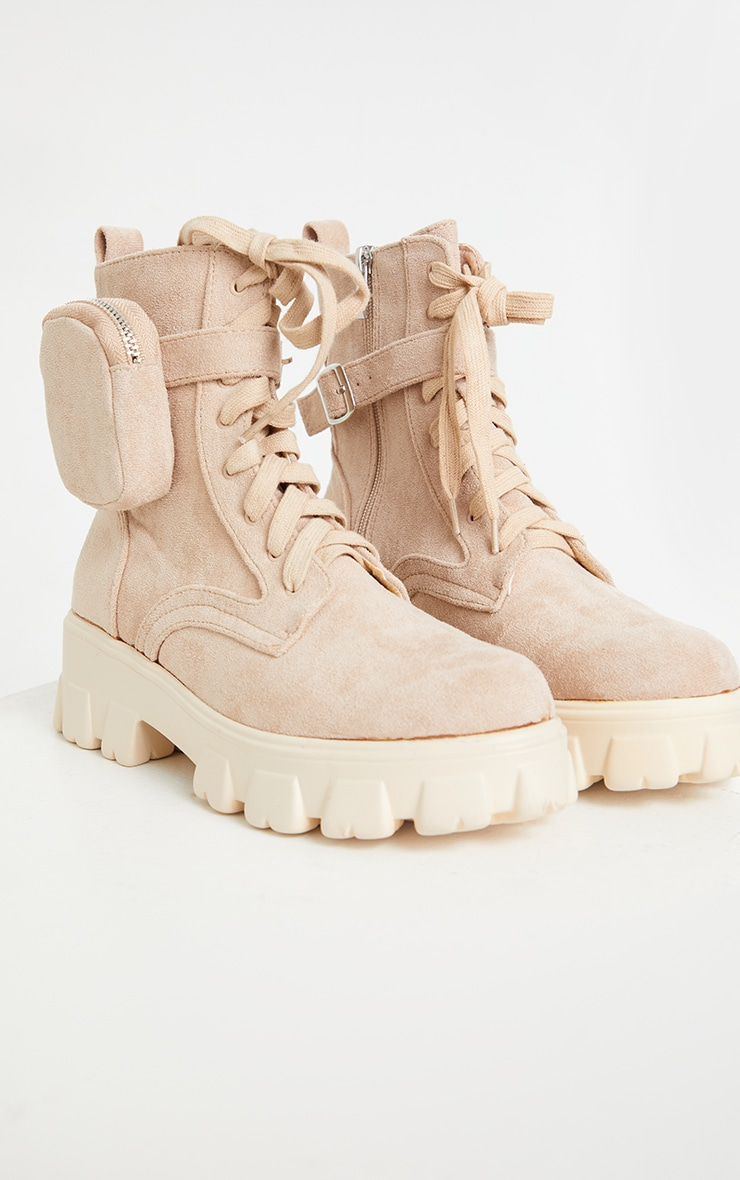 Mocha Faux Suede Pocket Extreme Cleated Sole Biker Boot 4