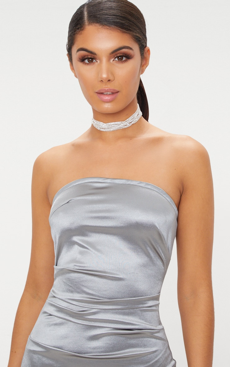 Silver Bandeau Ruched Satin Bodycon Dress 4