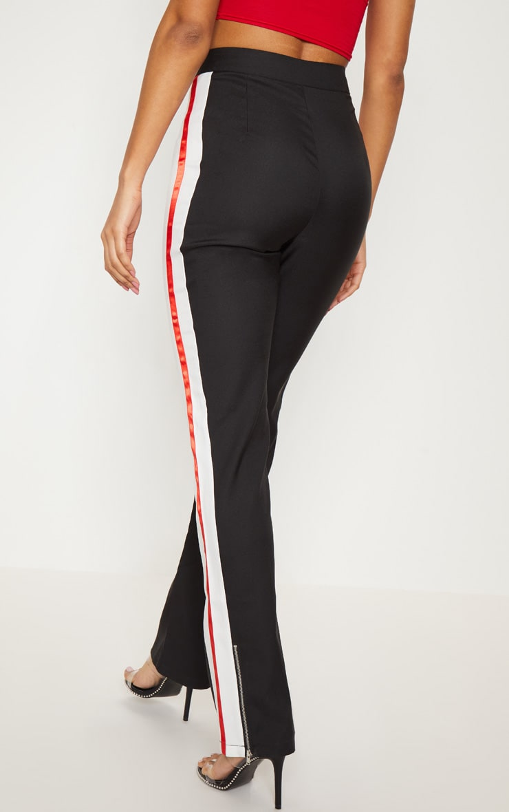 Black Tailored Side Stripe Straight Leg Trouser 4