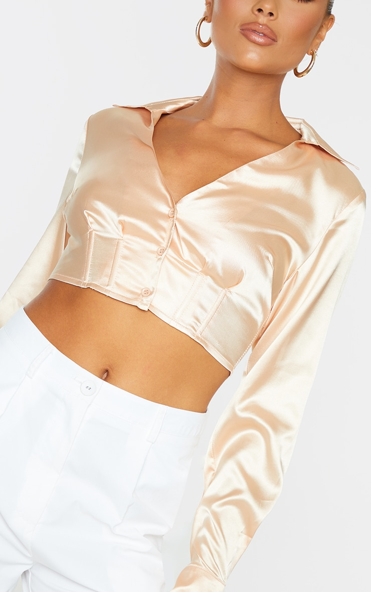 Champagne Satin Boned Long Sleeve Shirt 4