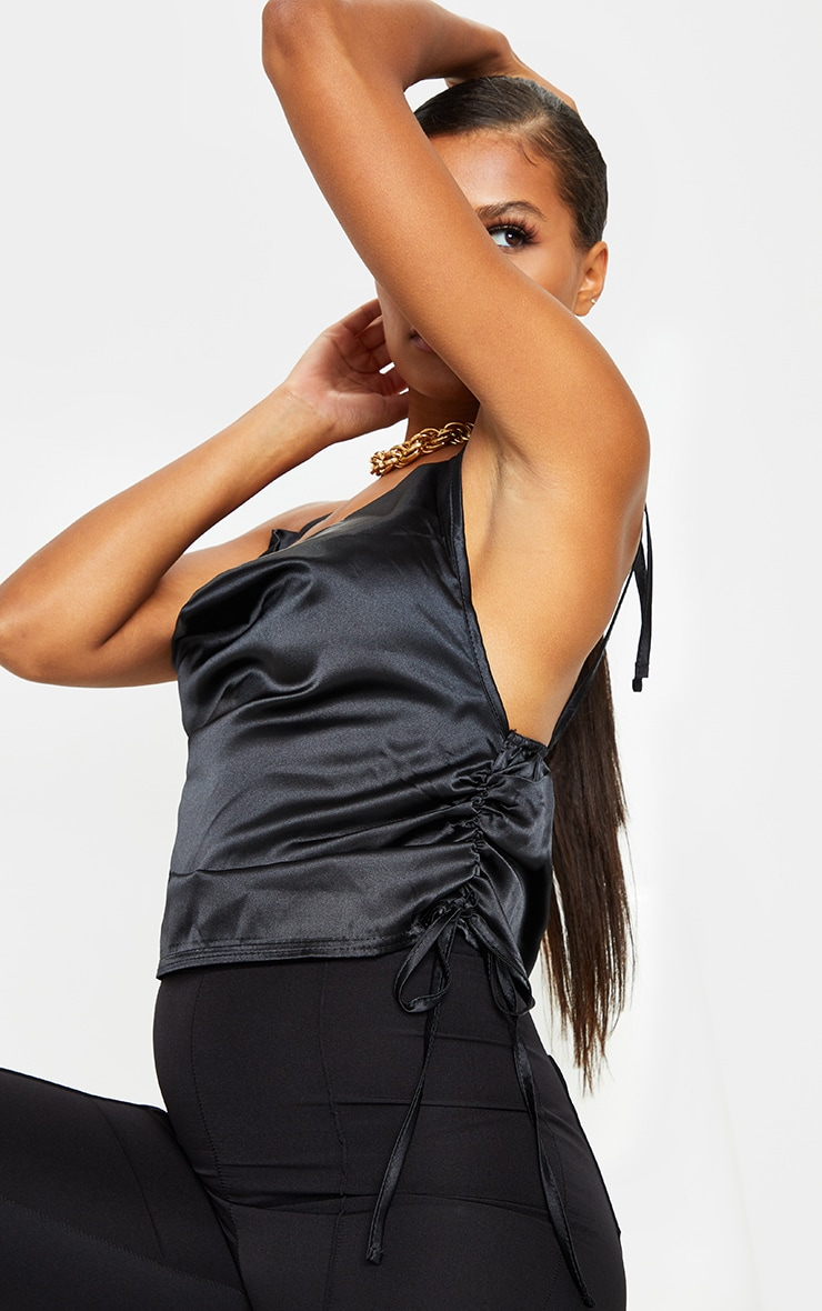 Black Satin Ruched Side Seam Cami Top 4
