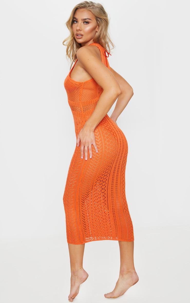 Orange Cut Out Detail Crochet Knit Midi Dress 2
