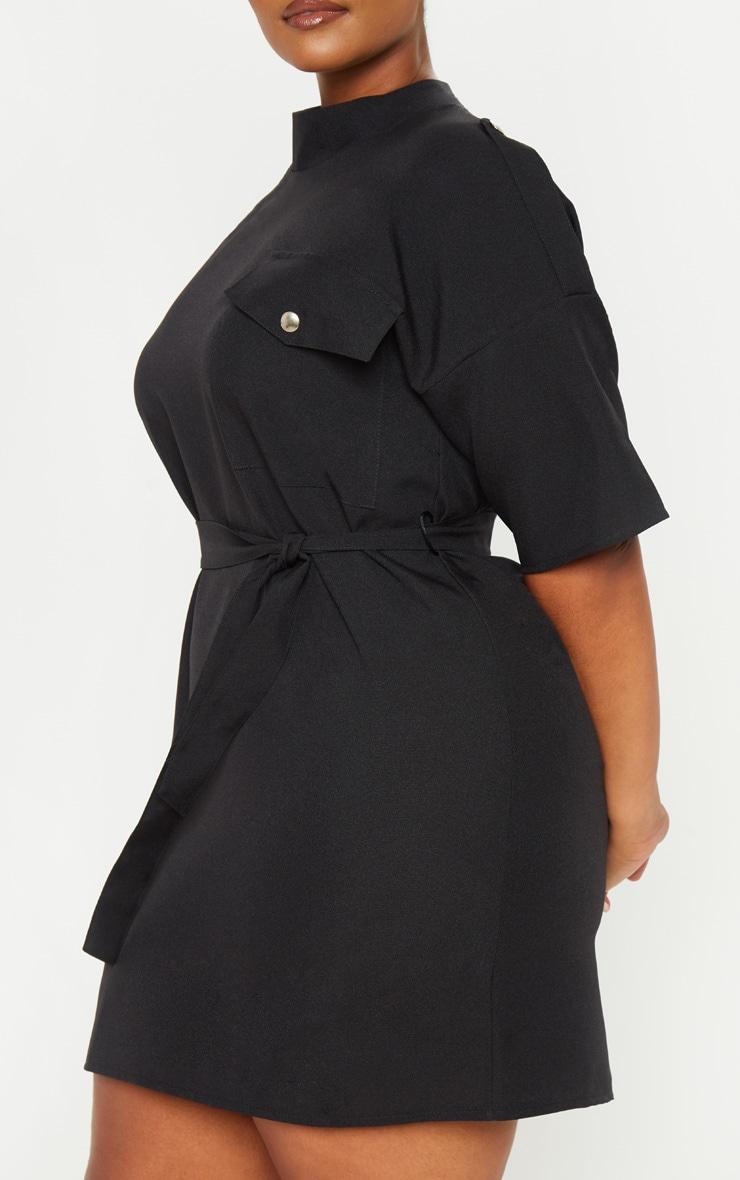 Plus Black Cargo Popper Detail Belted Shift Dress 5