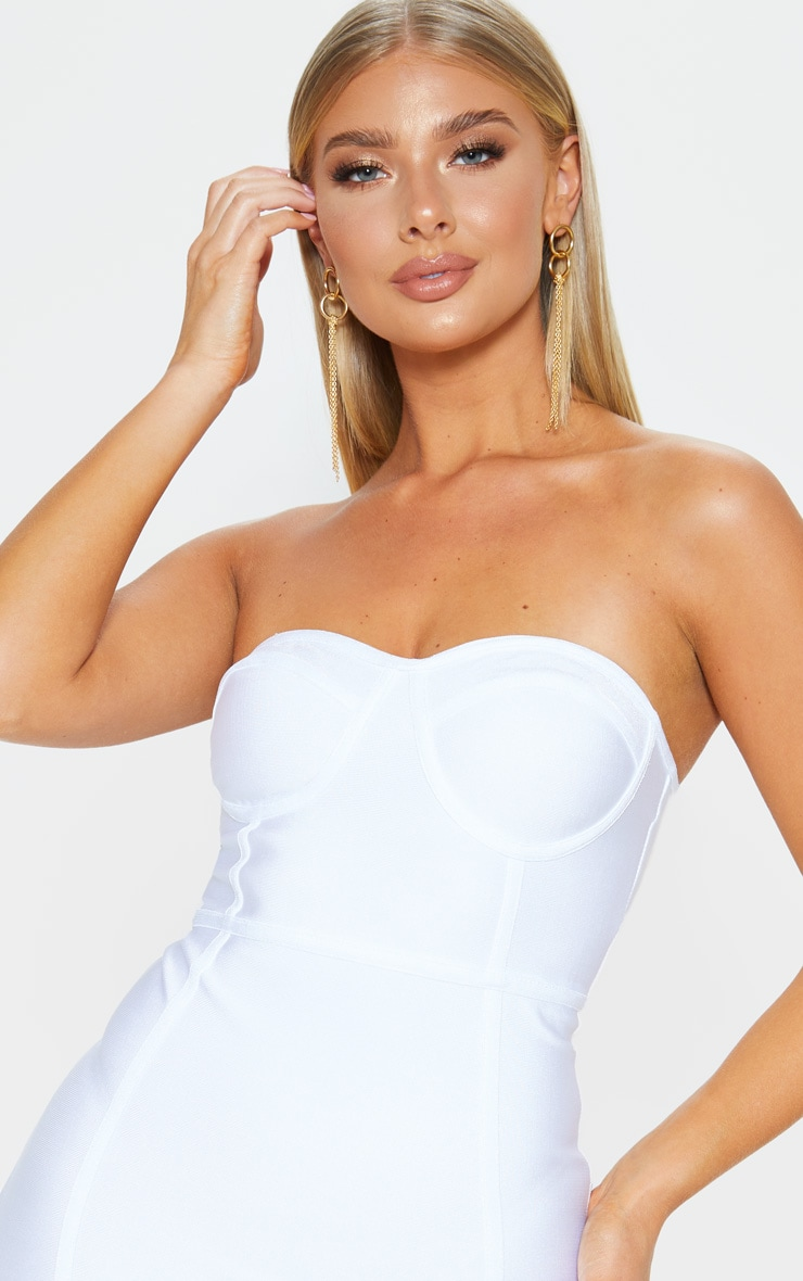 Presli White Bandage Frill Hem Bodycon Dress 5