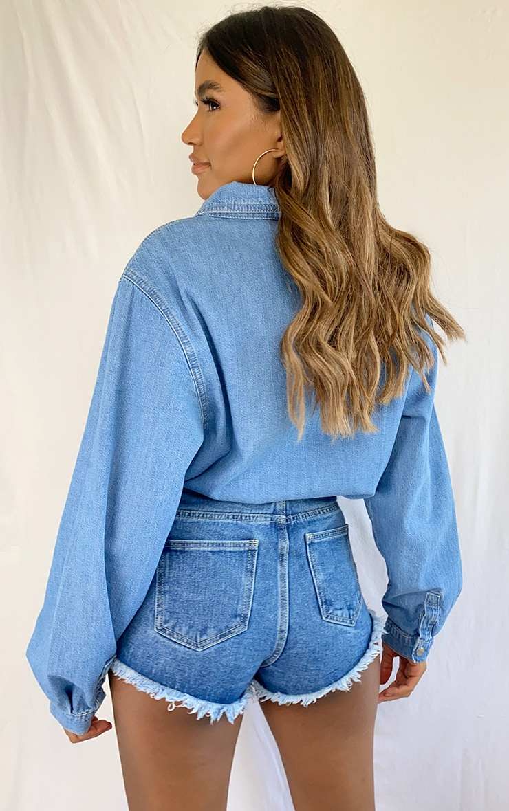 Light Blue Wash Popper Denim Shirt 2