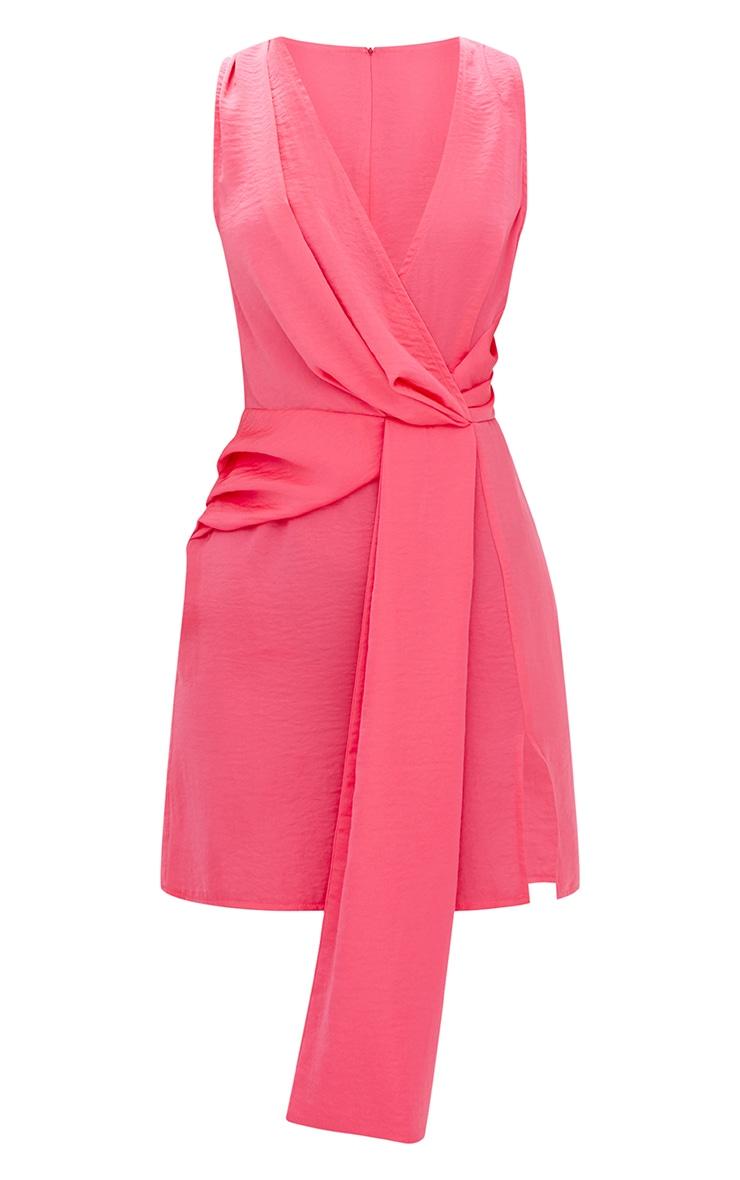 Coral Drape Front Thigh Split Satin Bodycon Dress 3