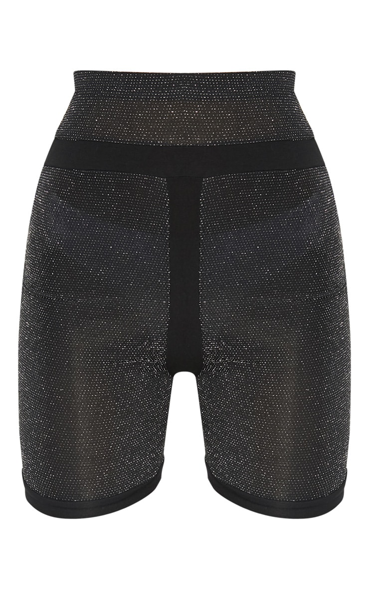 Black Textured Glitter Highwaisted Bike Short 3