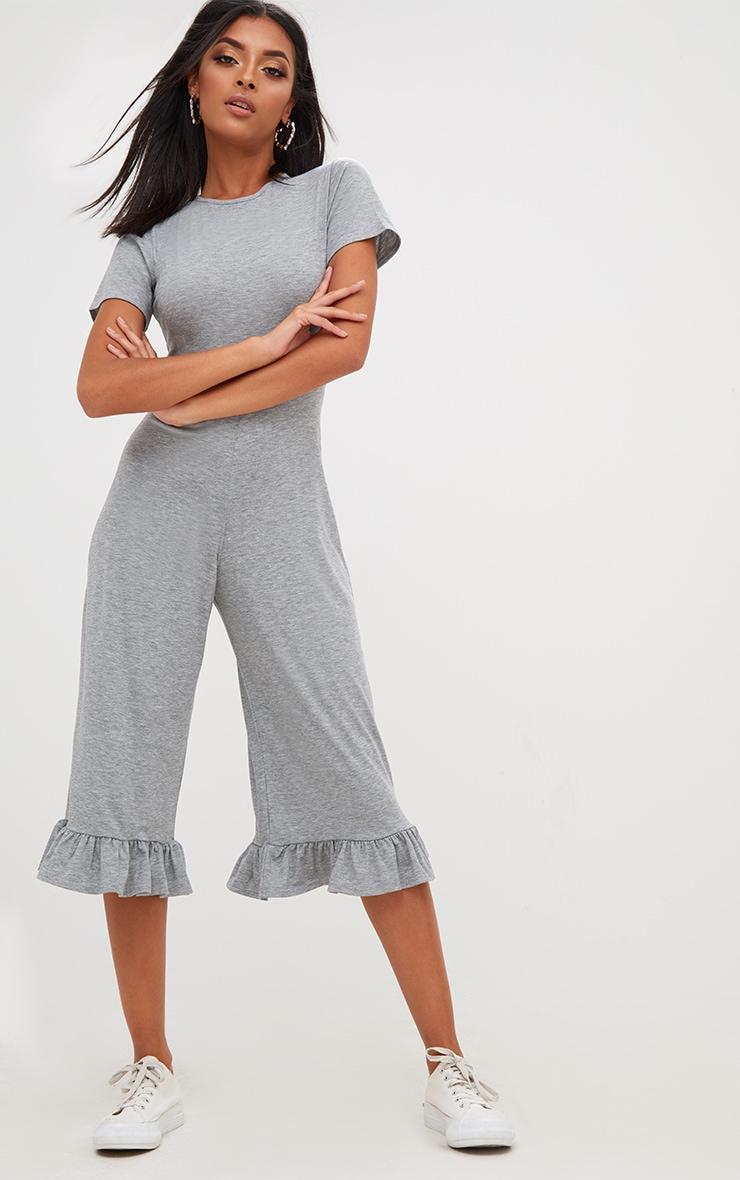 Grey Marl Jersey Short Sleeve Frill Hem Culotte Jumpsuit 1