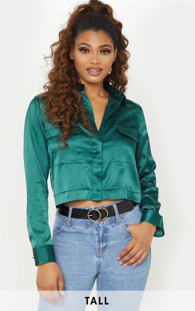 Tall Emerald Green Pocket Detail Crop Shirt 1