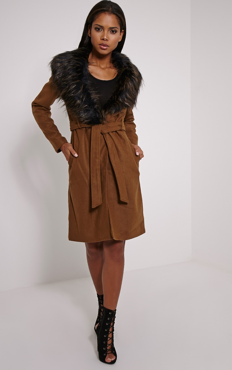 Kasey Tan Belted Faux Fur Collar Coat 1