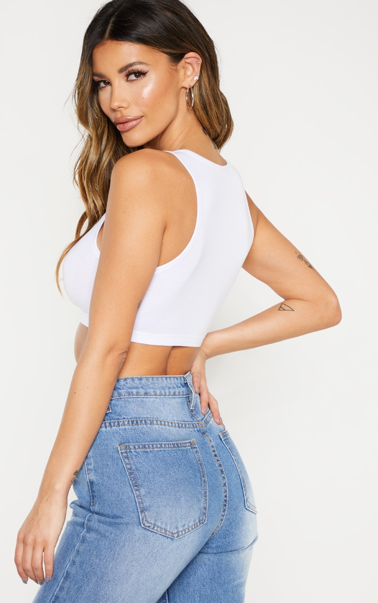 Basic White Sleeveless Elastic Hem Crop Top 2