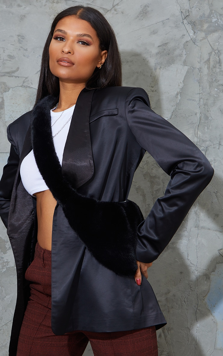 Black Faux Fur Cross Body Bag 1