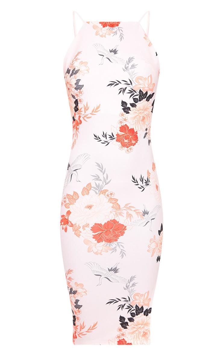 Pink Floral Print Strappy Low back Midi Dress 3