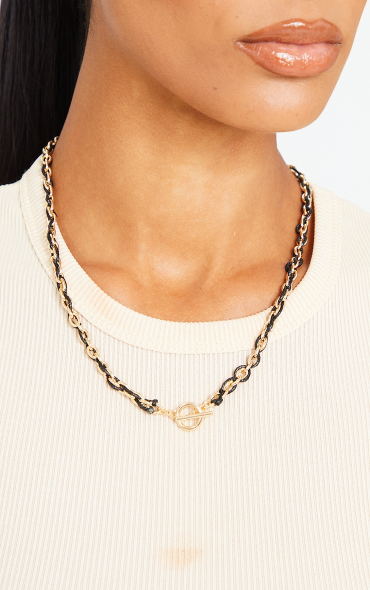 Gold Chain Black Pu Platted T Bar Necklace 2