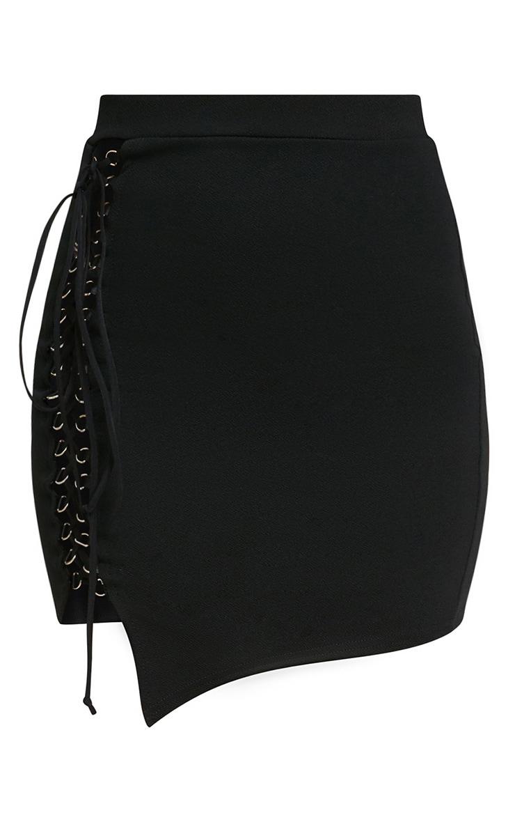 Black Lace Up Asymmetric Hem Mini Skirt 3
