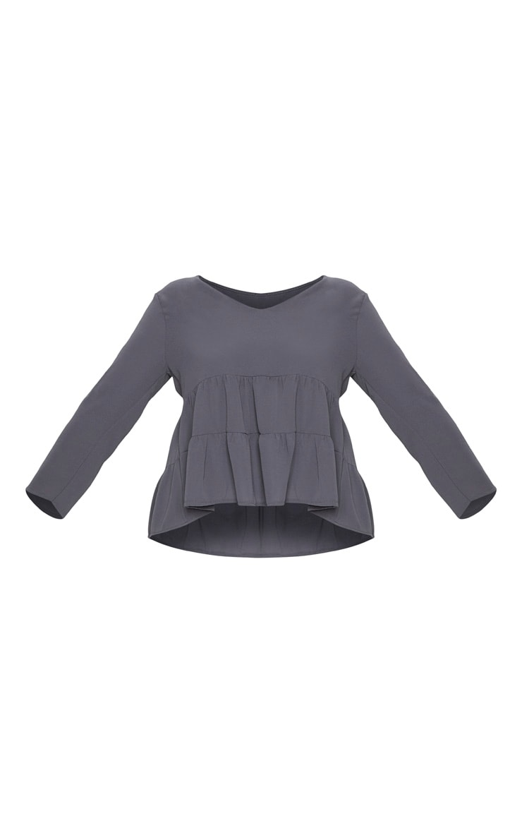 Plus Charcoal Plunge Tiered Shirt 3