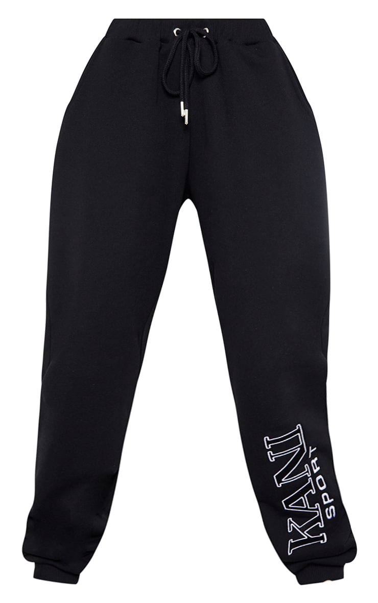 KARL KANI Black Embroidered Joggers 5