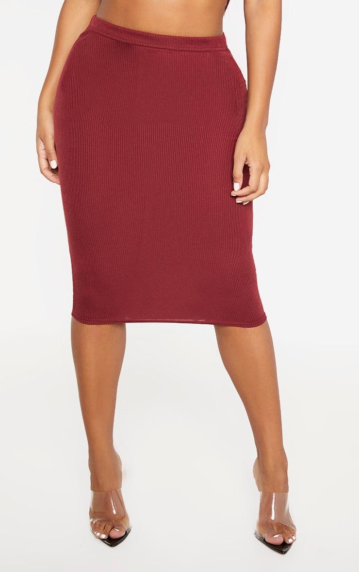 Shape Burgundy Ribbed Basic Midi Skirt 2