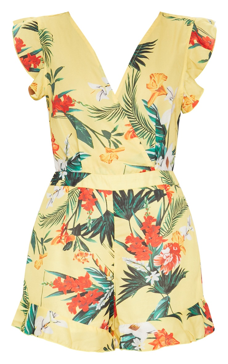 Yellow Tropical Tie Back Romper 3