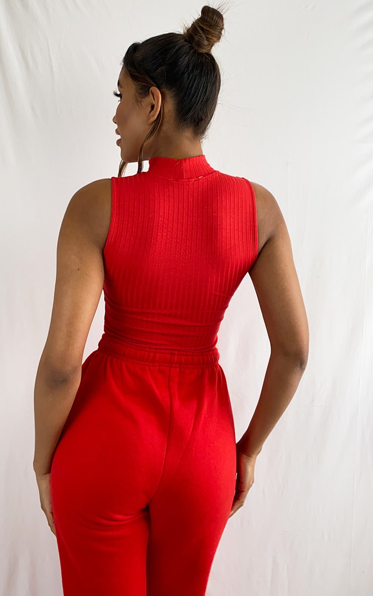 Red Rib High Neck Long Top 2