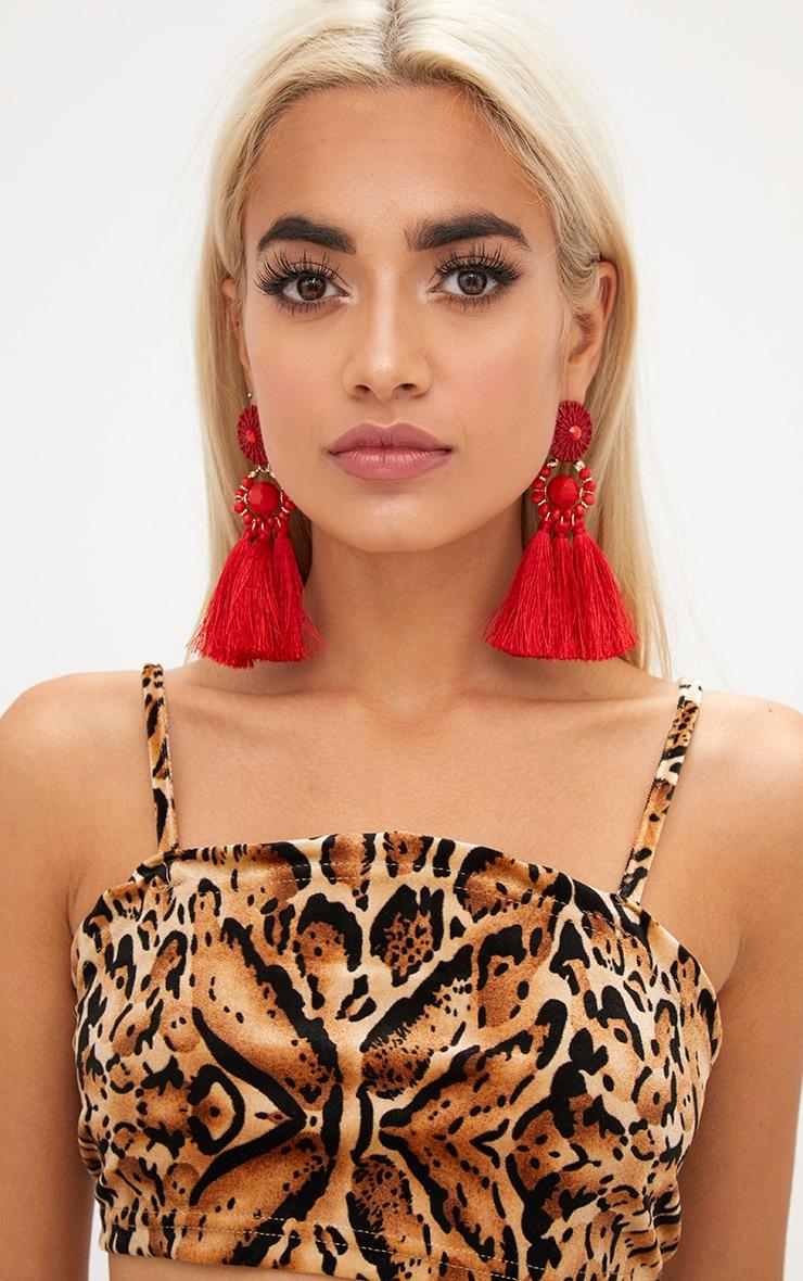 Red Acrylic Bead Tassel Earring 2