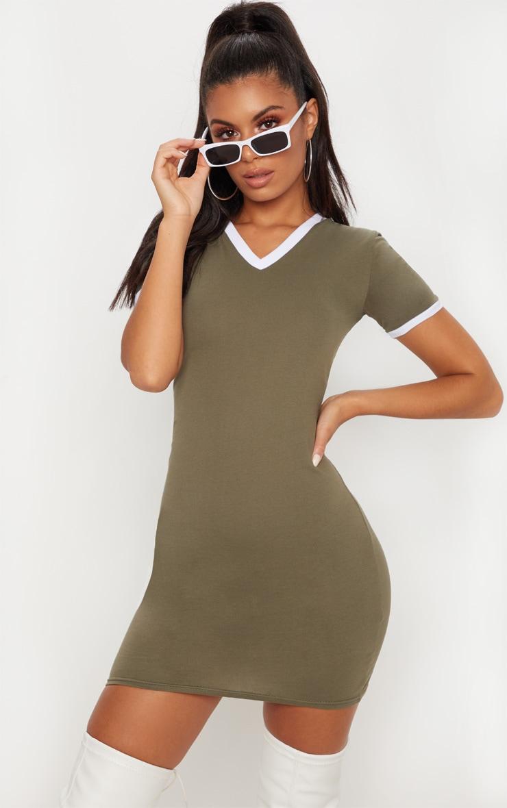 Khaki Contrast Trim V Neck T Shirt Dress 4