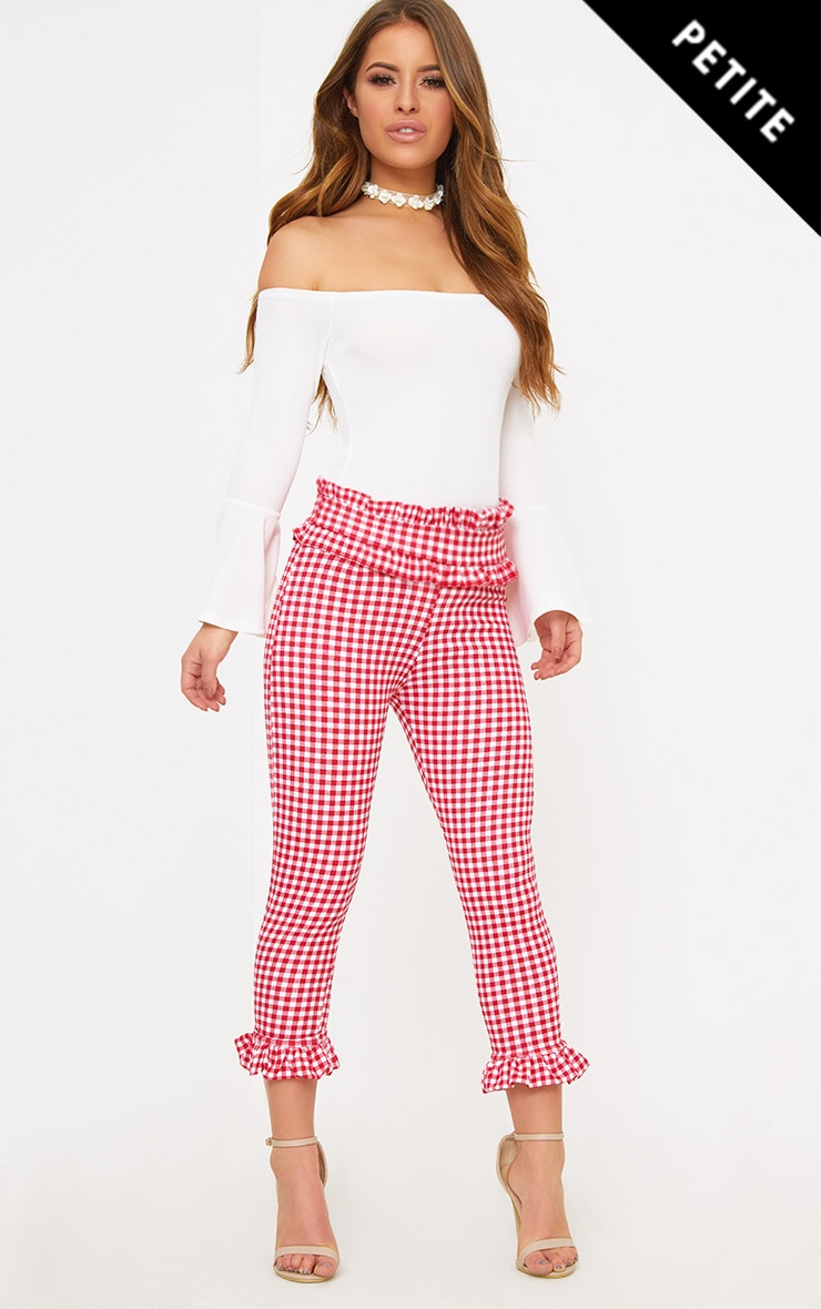 Petite Red Gingham Frill Hem Trousers 1