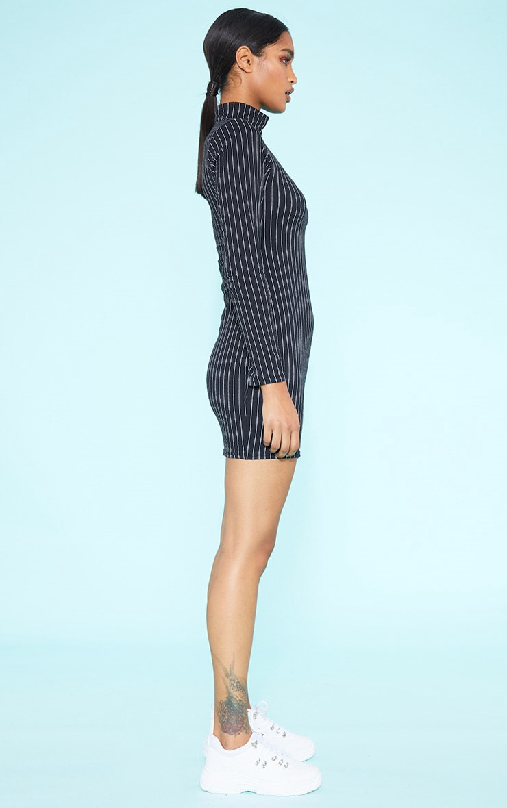 RECYCLED Black Pinstripe Roll Neck Long Sleeve Bodycon Dress 2