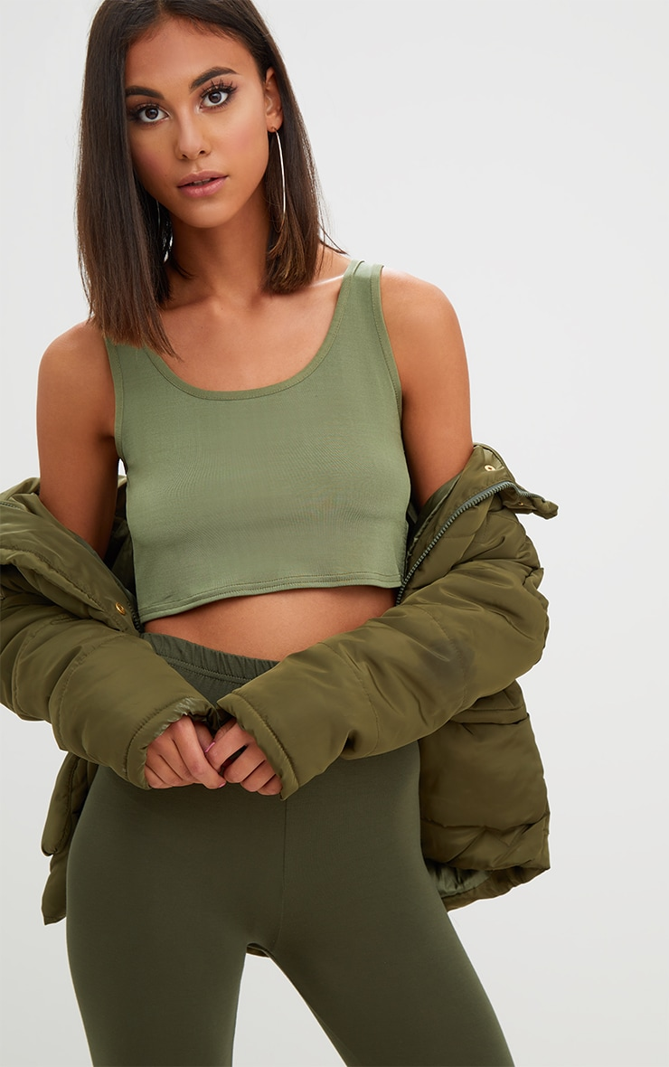 Khaki Slinky Scoop Neck Crop Top 1