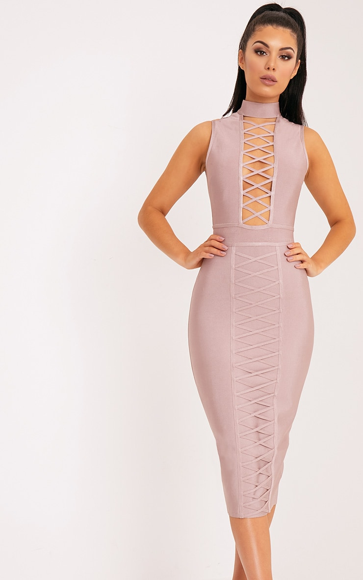 Mink Criss Cross Bandage Midi Dress 1